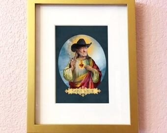 Saint Willie Nelson Print // 5x7 Original Collage Art
