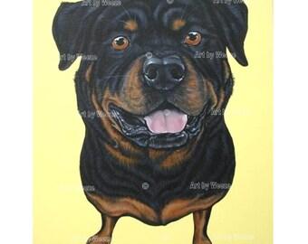 Rottweiler - Rottweiler Art - Rottweiler Painting - Rottweilers - Rotties - Rottie - Dog Breeds - Weeze Mace - 16x20