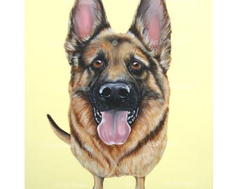 German Shepherd - German Shepherd Art - German Shepherd Painting - German Shepard - Pet Portrait - Dog Breeds - Weeze Mace - 16x20