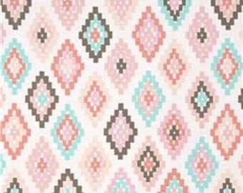 Handmade Window Curtain Valance 44W x 15L in Pink/Blush Aztec Print, Home Decor Nursery Childs Room, Curtain Panel Curtain