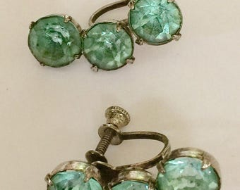Vintage Sterling Silver And Blue Stone Screw Back Earrings