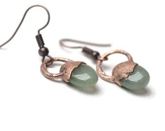 nephrite jade earrings green gemstone earrings bohemian jewelry copper artisan dangle unique earrings gift for her