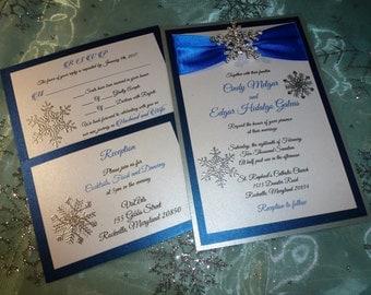 "Royal blue wedding Invitation, Thermography raised printing  ( sample ) -"" Royal Winter """