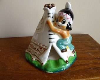 Vintage Indian Native American First Nations Boy on Teepee  Smoker/Ashtray/Incense Burner Circa 1950's