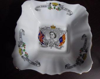 Vintage Royal Stafford Bone China Trinket/Pin Dish Coronation  Queen Elizabeth II 1953