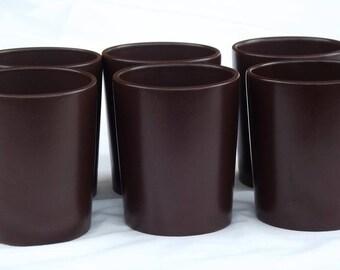 Five Vintage Mugs. Hoganas mugs. Dark Brown Mugs.  Hoganas Keramik Sweden Mugs. Swedish vintage 1970.