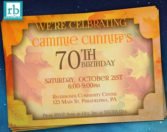 Autumn Birthday Invitation, Autumn Party, Birthday Party Invitation, Fall Party Invitation, Fall Party - Digital Printables