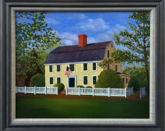 "Phelps Tavern, Simsbury, CT   Framed Original Oil Painting.  16""x20"""