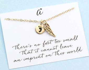 In Memory of a Child . Gold Angel Wing . Baby Footprint . Infant Loss . Memorial Charm . 14k Gold Filled . ALSO IN SILVER