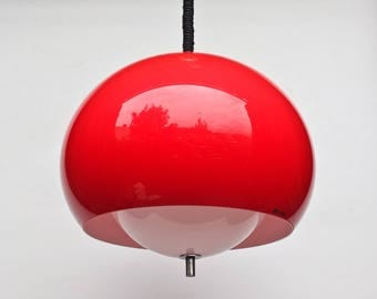 Adjustable Atomic Ceiling Light - Red and White Space Age Ceiling Lamp Pendant Lamp / 70's / Meblo Guzzini