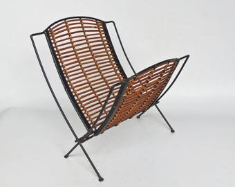 Mid Century Modern Magazine Rack / Newspaper  Holder / Metal & Rattan /  60's Home