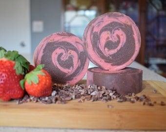 Valentines soap,chocolate strawberry,chocolate soap,strawberry soap,valentines gift,heart soap,round soap,food soap,foodie gift,hostess gift