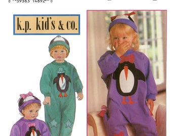 Toddler's Loose-fitting Knit Romper & Hat sizes 1-2-3-4 Simplicity Sewing Pattern 8744 Includes Patterns for Applique