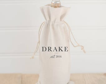 Personalized Wine Bag - Last Name With Line