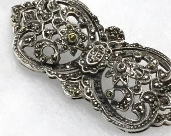 Vintage MARCASITE, Sterling Silver Pin