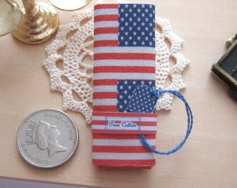 dollhouse  fabric bolt sewing patriotic stars stripes  12th scale  miniature