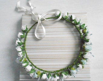 Floral Hair Wreath / Mint and Ivory Headpiece of Blooms / Handmade Hair Accessory