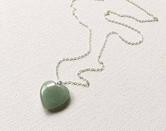 Light Green Aventurine Heart Necklace