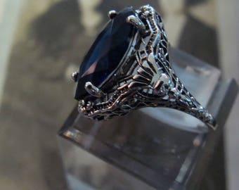 Sweet Sterling Silver Marquis Sapphire ring Size 6 3/4