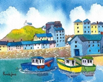 Watercolour Print, Boats, Tenby Harbour, Pembrokeshire, Wales, UK, Marine Art, 14ins x 11ins, Gift Idea, Art and Collectables