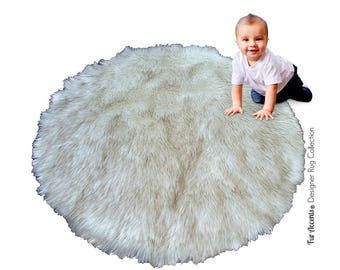FUR ACCENTS Classic Round Sheepskin Area Rug Shaggy Faux Fur White or Off White small medium large baby nursery living room bedroom  den