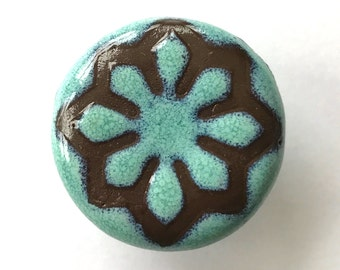 Cabinet knobs , 1.5in , Turquoise and Brown Geo Star