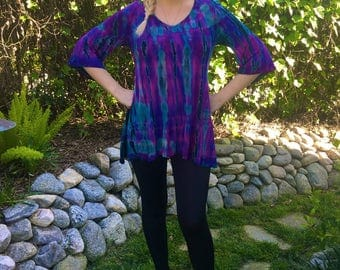 Plus Size Top,  Tunic Tops, BELL SLEEVE, Tie dye Top, Plus Size for Women, Tunics, Pink, Purple, Turquoise, Black S M L XL 2X 3X 4X, V Neck,