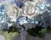 Something blue-Roses blanches et hortensias
