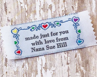 Custom Clothing Labels Vine and Heart Border, Clothing Tags, Woven Labels