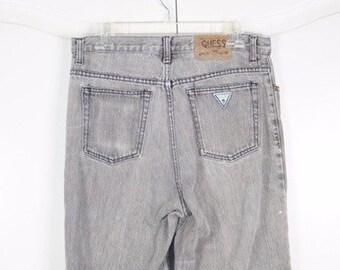 Vintage Original Acid Gray Wash Guess Jeans 80's skinny Jeans Size 34