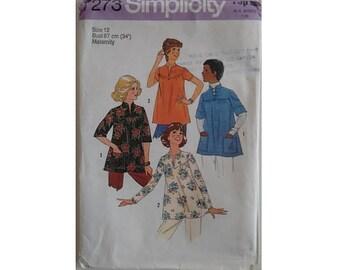 "UNCUT Vintage 70's Simplicity 7273 Pattern Kaftan Tunic Maternity Caftan Top Bust 34"" UK 12"