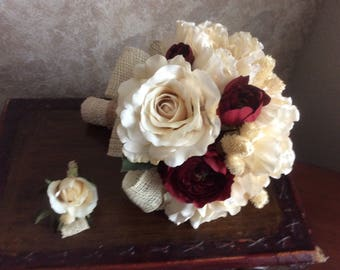 Bridal bouquet in ivory and burgundy