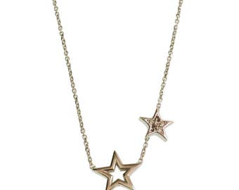 Silver Star Necklace/ Cubic Zirconia/ For Her