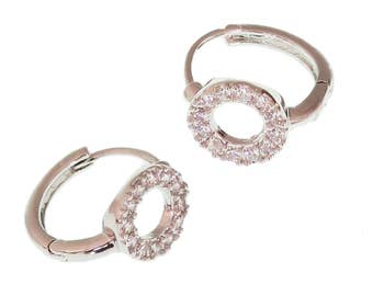 Little Hoop Earrings/ Cubic Zirconia/Rhodium/ Hypoallergenic/ For Her