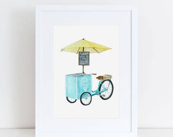 Vintage Inspired Bicycle Ice Cream Cart Fine Art Watercolor Print
