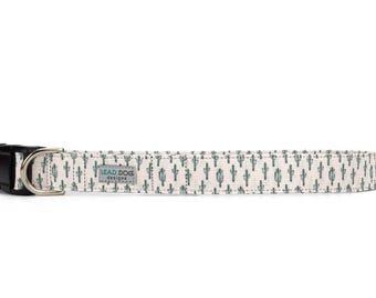 Cactus dog collar, southwest dog collar, small dog collar, light pink dog collar, adjustable dog collar, desert dog collar, choice of buckle
