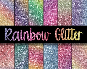 Rainbow Glitter Digital Paper - Glitter Textures - Glitter Backgrounds -  12 Colors - 12in x 12in - Commercial Use -  INSTANT DOWNLOAD
