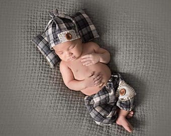 Newborn Ocean Blue Grey Plaid • Pillow Pant Hat Set • Newborn 3 Piece Blue Grey Plaid Set | Ready to Ship