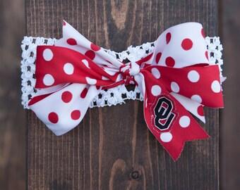 OU Bow, OU Cheer Bow, Oklahoma Bow, Headband, Bow, OU, Oklahoma, Headband Bow
