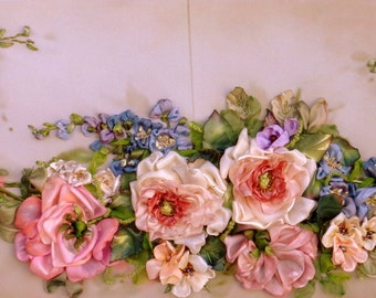 Vintage roses, ribbonembroidered picture,embroidery for frame,ribbonwork, ribbonroses,textilart,hand embroidery,silk ribbon embroidery