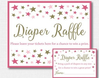 Pink Little Star Diaper Raffle Ticket - Star Baby Shower - Diaper Raffle Ticket and Party Sign - INSTANT DOWNLOAD