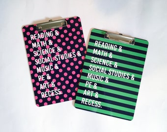 Personalized Clipboard - reading and math and science and art and music and recess school subjects