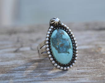 Sterling Turquoise Ring. Handmade  . Rustic . Earthy . Boho . Handstamped