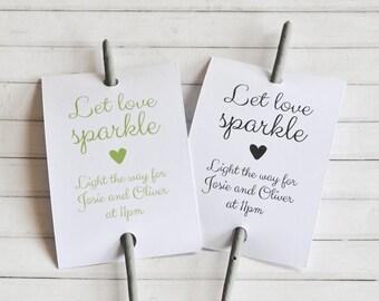 Let Love Sparkle, Personalised Sparkler Sleeve, Sparkler Tags, Wedding Sparkler Tags, Custom Sparkler Tag, Custom Sparkler Sleeve