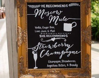 Signature Cocktails Wedding Chalkboard Bar Menu • Bride and Groom Recommendations • Signature Drinks