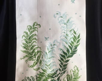 FERN DISH TOWEL Linen Unused vintage Tea Towels Aqua Green ferns and Butterflies Tt-558
