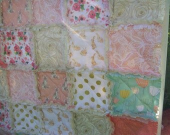 Crib Rag Quilt, Coral Aqua Pink Gold Bunny Rabbits Bunnies Peach Roses Floral Baby Quilt Baby Girl Crib Bedding Shabby