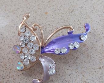 brooch,pin, ,purple, crystals,, new