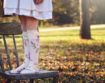 Children 'Knockout Socks' -Dressy Socks PDF Sewing Pattern, The Wolf and the a Tree, knee high socks