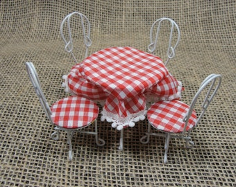 Vintage Dollhouse Miniature Cafe Table and 4 Chairs Set Red White Gingham Plaid Tablecloth White Enamel on Metal 1:12